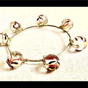 1970's Vintage bangle bracelet Indian glass beads